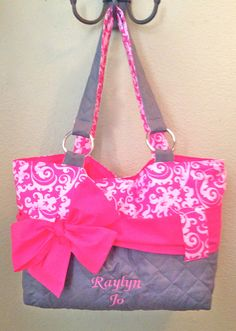 3 Piece Personalized Diaper Bag Set In Hot Pink Damask by CeeJaze, $125.00