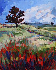 Chunky impressionist oil painting of Paso Robles, by Erin Hanson