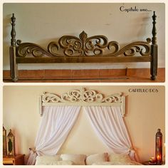 Before and after. Upcycled footboard, now baldaquino. https://www.facebook.com/capitulodoslapagina/