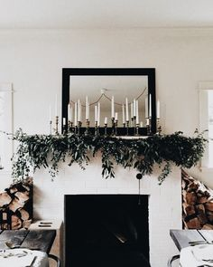 fresh greenery on the mantle