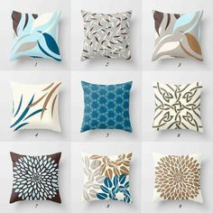 Throw Pillow Covers Toss Pillows Blue Gray and Grey Throw Pillows, Grey Cushions, Brown Pillows, Toss Pillows, White Pillows, Couch Pillows, Brown Pillow Covers, Grey Cushion Covers, Brown And Blue Living Room