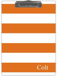 Orange and White Stripe Clipboard