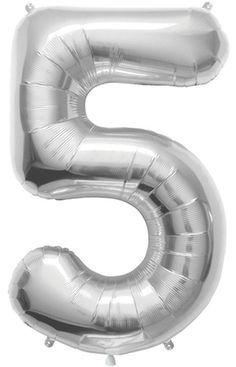 """34"""" Silver Jumbo Number Balloon"""