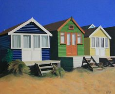 Beach Huts in Summer by Linda Monk original oil painting on canvas www.art-lindamonk.co.uk