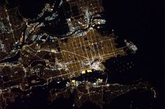 Vancouver at Night (NASA, International Space Station, Nasa Earth Images, Vancouver Photos, Chris Hadfield, Vancouver British Columbia, Light Pollution, O Canada, Night Shot, International Space Station, Space Photos