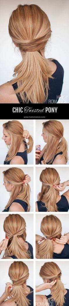 3 chic ponytail tutorials to lift your everyday hair game - Hair Romance - Hair Romance - The chic twisted ponytail tutorial - Five Minute Hairstyles, Quick Hairstyles, Everyday Hairstyles, Ponytail Hairstyles, Hair Updo, Office Hairstyles, Medium Hairstyles, Latest Hairstyles, Girl Hairstyles