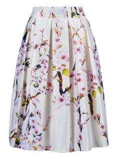 Shop White Sakura Print Sliky Midi Skater Skirt from choies.com .Free shipping Worldwide.$13.9