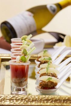 Bloody Mary Oyster shooters & Pinenut crusted Oysters, pouilly shadows