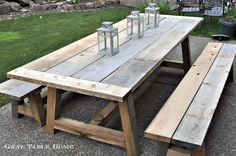 DIY Furniture ~ Restoration Hardware Inspired Outdoor Dining Table and Benches {. - DIY Furniture ~ Restoration Hardware Inspired Outdoor Dining Table and Benches {with free woodworki - Diy Picnic Table, Picnic Table Plans, Patio Table, Diy Table, Outdoor Tables, Rustic Table, Patio Dining, Diy Patio, Outdoor Table Plans