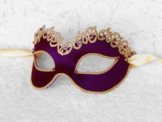 Deep Purple And Gold Masquerade Mask With Rhinestones  by SOFFITTA,