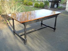 Heir and Space - solid cherry colonial revival dining table, refinished
