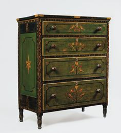 Mahantongo Valley paint-decorated chest of drawers   Cabinetwork attributed to Johannes Mayer (1794-1883) with painted decoration attributed to the Rev. Isaac Stiehly (1800-1869). Northumberland and Schuylkill Counties, Pennsylvania, dated 1838  Poplar and white pine, original painted decoration, 50 ½ x 41 ¾ x 20 ¾ inches.  PROVENANCE: Estate of Jonathan Wenrick, Selinsgrove, PA; Hassinger & Courtney Auctioneers, Richfield, PA, January 8, 2001, lot 365.  Est. $8,000-$12,000