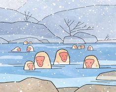 "An illustration of Japanese snow moneys soaking in a hot spring with snow falling. High quality art print Signed and dated 5x7"" and 8x10"" prints come matted 11x14"" print shipped in mailing tube (not m"