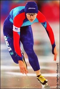Bonnie Blair pumps her way to the 500-meter gold medal in the 1994 Olympics at Lillehammer.