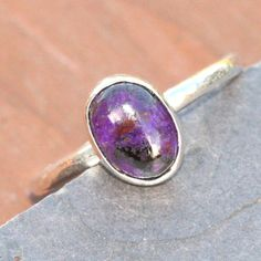 Purple Sugilite Ring,  Fine Silver Ring, Size 5 Sugalite Ring by Maggie McMane Designs