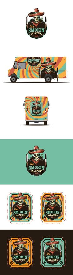 99 of the best logos for creative inspiration. This design by Mat W uses dia de los muertos skull candy illustration for a food truck. #branding #cuisine #mexican