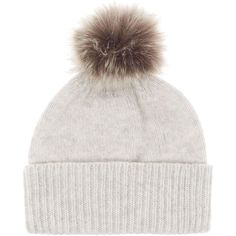 Helen Moore Cashmere hat with faux fur pom pom beanie ( 105) ❤ liked on bc39ee5bb0f4