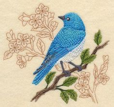 Mountain Bluebird with Delicate Branches, Embroidered flour sack towel, tea towel, hand towel or dish towel by embroiderybybeverly on Etsy