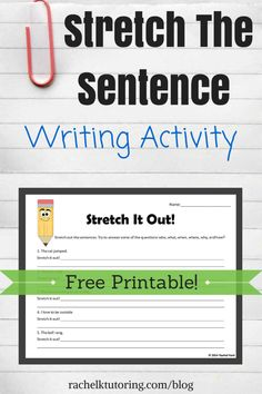 This FREE stretch the sentence writing activity is perfect for students who need more practice with writing detailed sentences! Kindergarten Writing, Kids Writing, Teaching Writing, Writing Ideas, Descriptive Writing Activities, Writing Art, Teaching Spanish, Teaching Tools, Writing Strategies