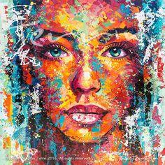 Portraits+Réalistes+à+l'Acrylique+dans+une+Palette+Eclaboussante