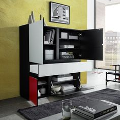 Danish Glass Highboard In Multicolour With 4 Doors_4
