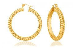 Twilight Hoops by Simone I. Smith 18Kt. Yellow Gold Over Sterling Silver