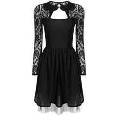 Yoins Black Lace dress (€14) ❤ liked on Polyvore featuring dresses, black, robe, short dress, short black dresses, short sleeve dress, lace mini dress, lace cocktail dress and black dress