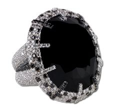 CUSHION CUT OVAL BLACK DIAMOND RING SET IN AN 18KT WHITE GOLD, MICROSET WITH 658 DIAMONDS AND 110 BLACK DIAMONDS | Martin Katz