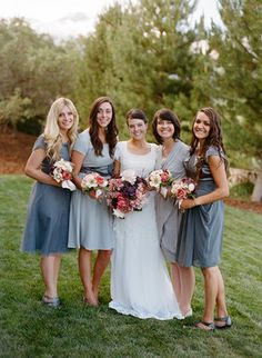 BRIDESMAIDS IN GREY - PERFECT EXACTLY WHAT I WANT
