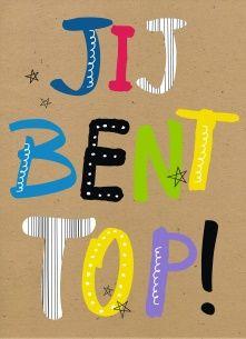 Echte kaarten maken & versturen - succes goed gedaan kaart - gekleurde letters jij bent top