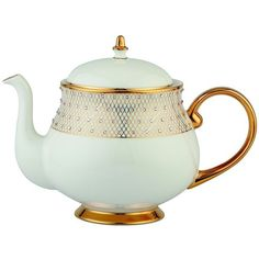 From the Princess Collection. Fine china tea pot in an artful silhouette is updated with delicate patterns and Swarovski crystals. Capacity: 34 oz. Fine bone c…
