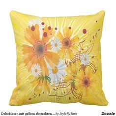 Dekokissen mit gelben abstrakten Blumen Kissen