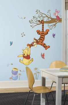 Bring the magic home with these Winnie the Pooh wall decals. Decorate your child's nursery or bedroom with Winnie the Pooh, Tigger, and Piglet swinging for honey. These removable decals are easy to install: simply remove from the backing and assemble on any smooth, flat surface. And each element can be removed, repositioned, and re-applied multiple times without damage or residue on your walls. A great finishing touch for any Pooh & Friends themed bedroom!