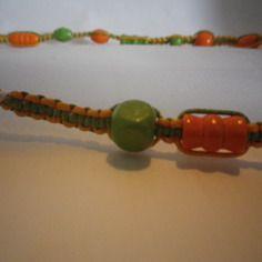 Bijoux - bracelet - macramé - orange - vert - perles - idée cadeau…