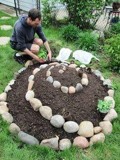 jetzt zeigen wir ihnen eine tolle idee zum thema gartengestaltung, die ihnen sehr gut gefallen kann - ein inspirierendes bild mit einem mann und einer kleinen mini kräuterspirale mit grünen pflanzen und kleinen steinen