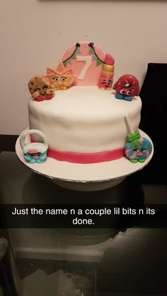 Not decorated a cake for a while so bit out of practice. Shopkins cake before id added the name and details for my neice.