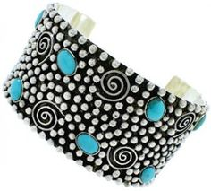 Turquoise Genuine Sterling Silver Southwest Cuff Bracelet FX27239 http://www.silvertribe.com