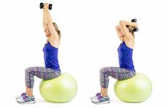 15 Stability Ball Moves for a Total Body Workout Arm Workouts At Home, At Home Workout Plan, Ball Workouts, Workout Plans, Fitness Workouts, Stability Ball Exercises, Weight Exercises, Stretching Exercises, Body Exercises