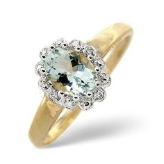 Diamond Essentials 0.70 Ct Aquamarine and 0.01 Ct Diamond Ring In 9 Carat Yellow Gold From the Diamond Essentials collection in 9 Carat Yellow Gold. Ladies. Presented in a Leatherette gift box. Our price: pound