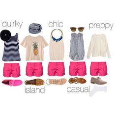 1 short. 5 styles by mathildelacoste8 on Polyvore hot pink short pink summer