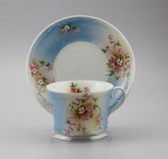 Antique Russian Porcelain Floral Cup and Saucer by Gardner factory circa 1850 №2