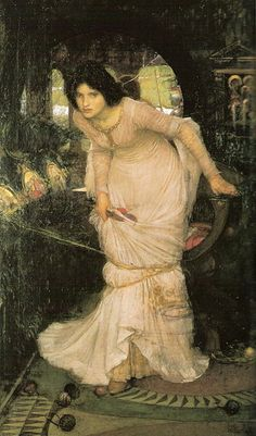 The Lady of Shalott Looking at Lancelot, John William Waterhouse - Pre-Raphaelite