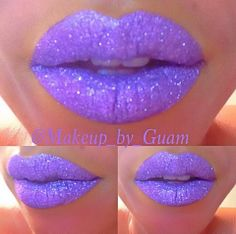 Eye Kandy's Gum Drop over your favorite purple lipstick will recreate these gorgeous lips.