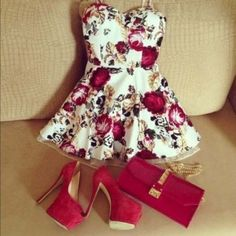 cute fashion outfit tumblr | dress shoes high heels flowers floral bag clutch purse girl cute ...
