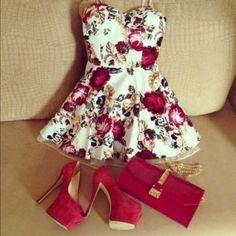 cute fashion outfit tumblr | dress shoes high heels flowers floral bag clutch purse girl cute ...
