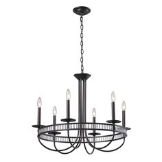 Braxton 6 Light Chandelier In Aged Bronze And Clear Ribbed Glass 10241/6