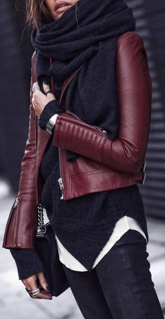 #winter #outfits dark grey sweater, black jeans, red leather jacket, scarf