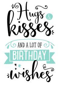 Verjaardagskaart Hugs & Kisses
