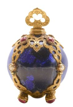 Blue Enamel Gold-Mounted Jeweled Scent Bottle. #antique #vintage