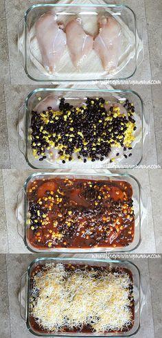 Delicious + Easy = My kind of dinner! Healthy Enchilada Chicken Bake recipe